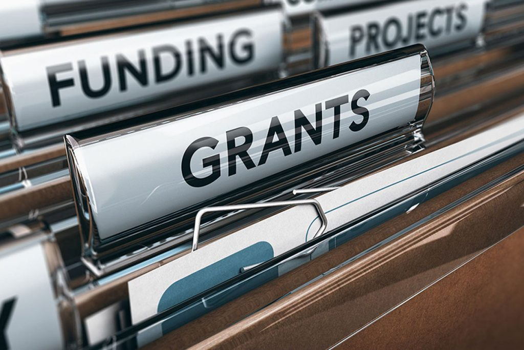 Image showing folders with the headings Funding, Projects and Grants